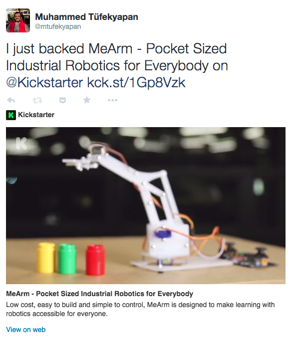 KickStarter - Twitter Card