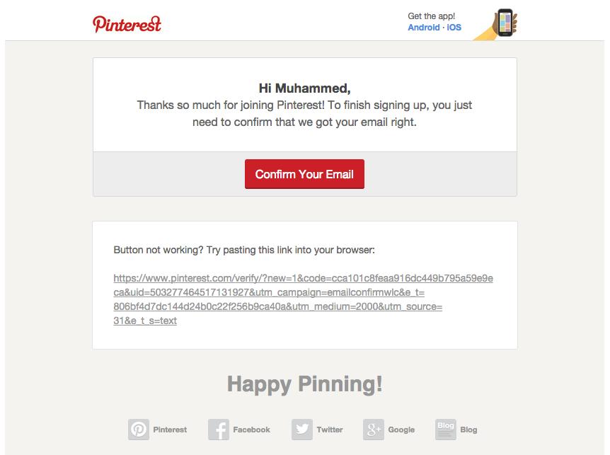Pinterest aktivasyon emaili