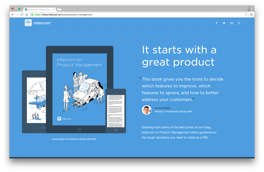 Intercom on Product Management Karşılama Sayfası