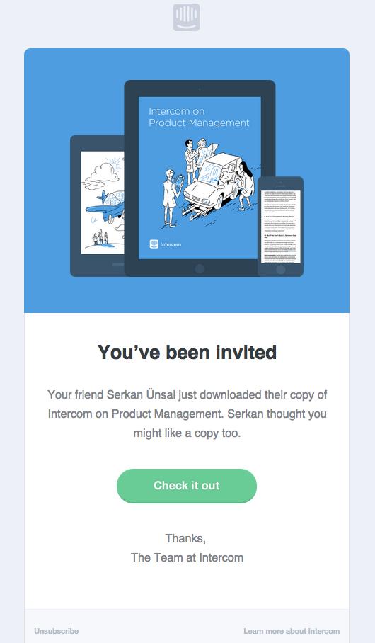 Intercom invite e-mail