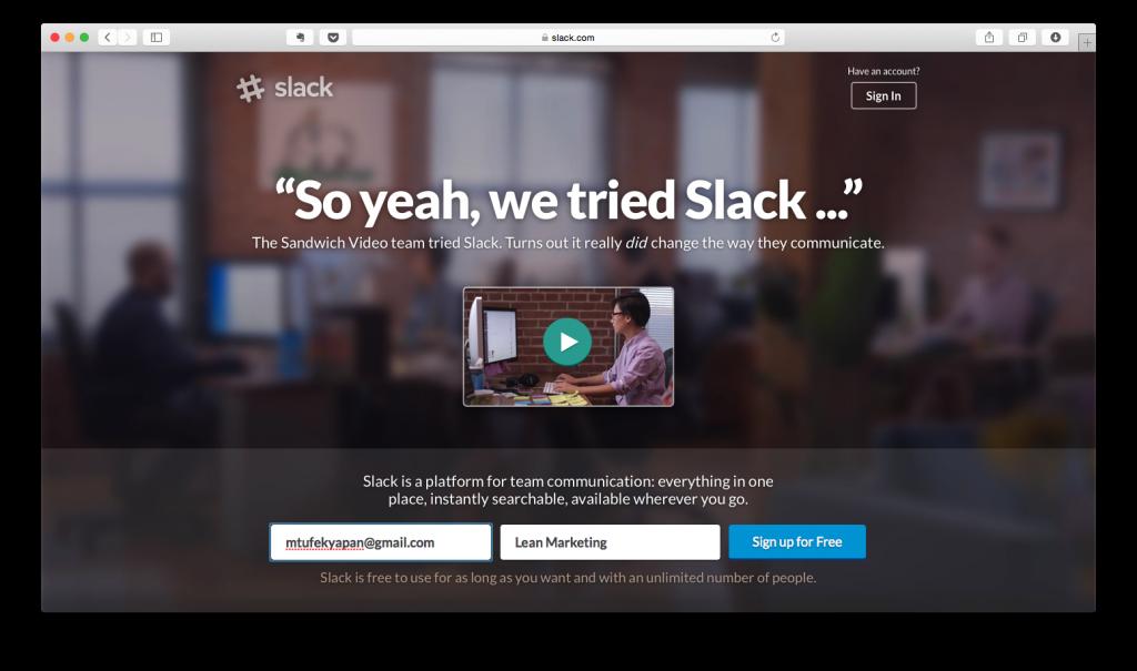 Slack Karşılama Sayfası - Üye Olma