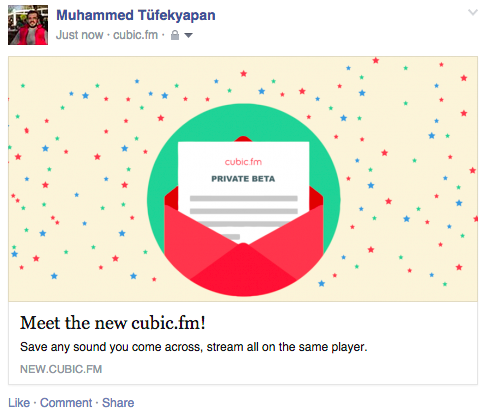 Cubic.fm - Facebook Paylaşım