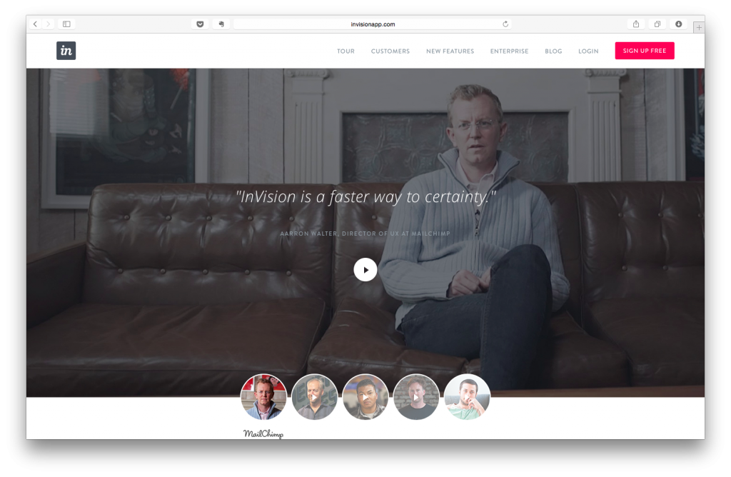 Invision Landing Page