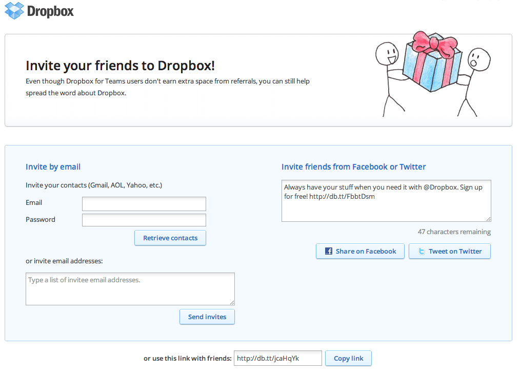 dropbox growth hacking örneği