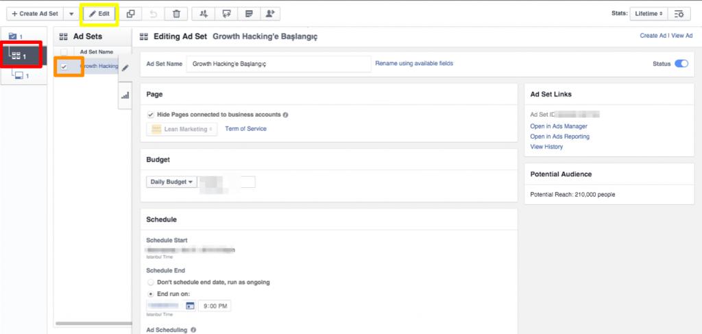 Facebook Ad Set Düzenleme