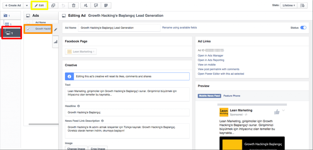 Facebook Reklam Düzenleme