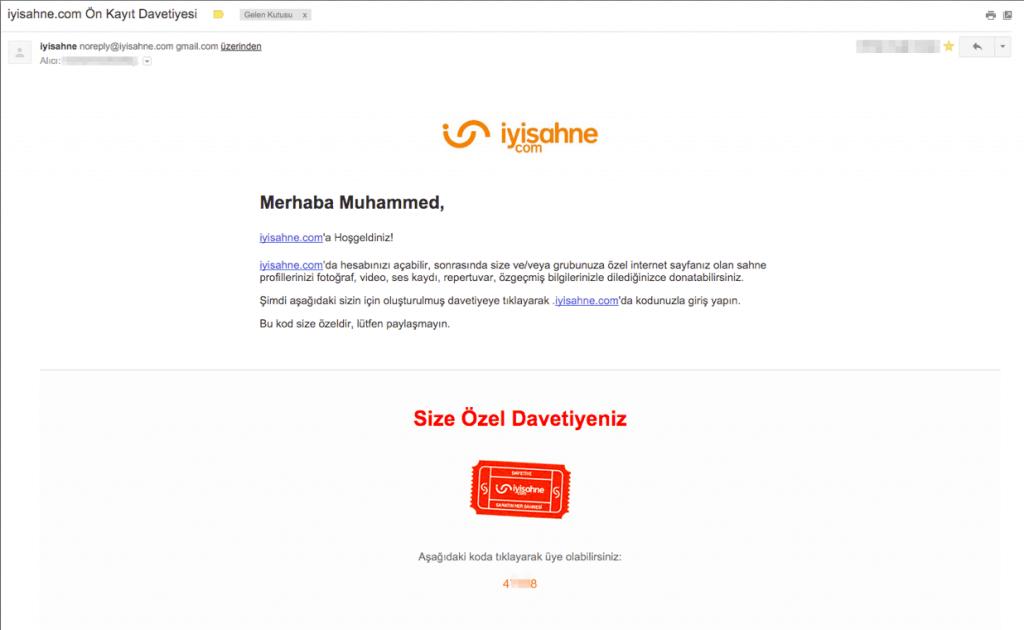 iyisahne.com - davet email