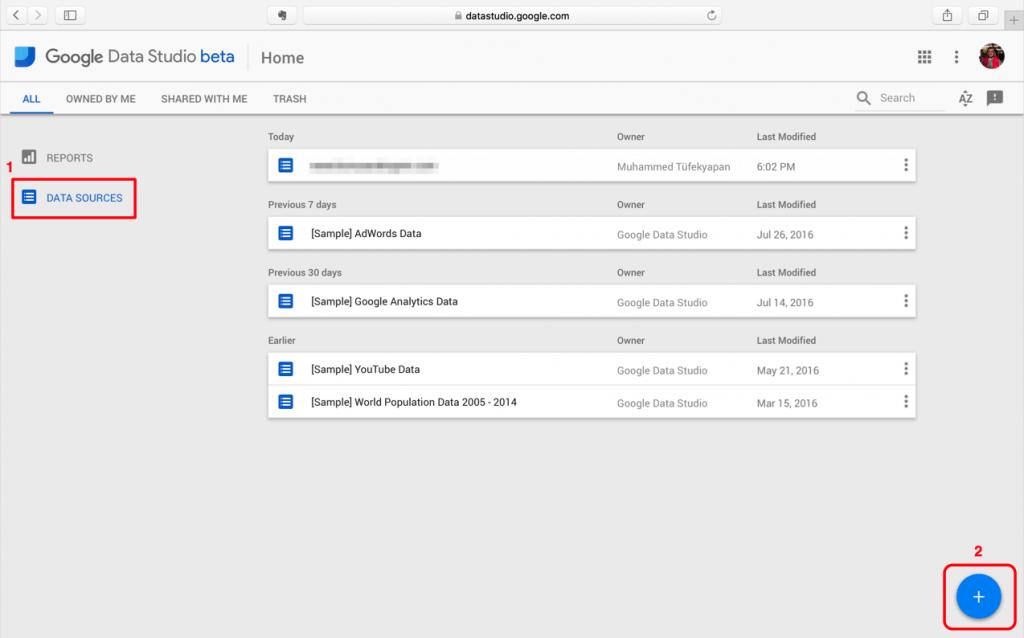 Google Data Studio - Veri Kaynağı Eklemek